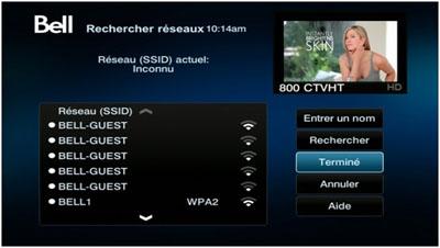 Votre récepteur recherchera les réseaux Wi-Fi à proximité.