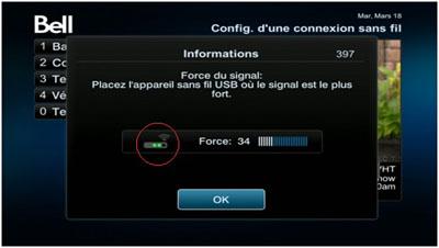 Vous verrez ensuite un écran indiquant la puissance du signal