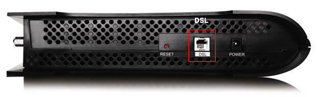 DSL port on rear of Connection Hub modem